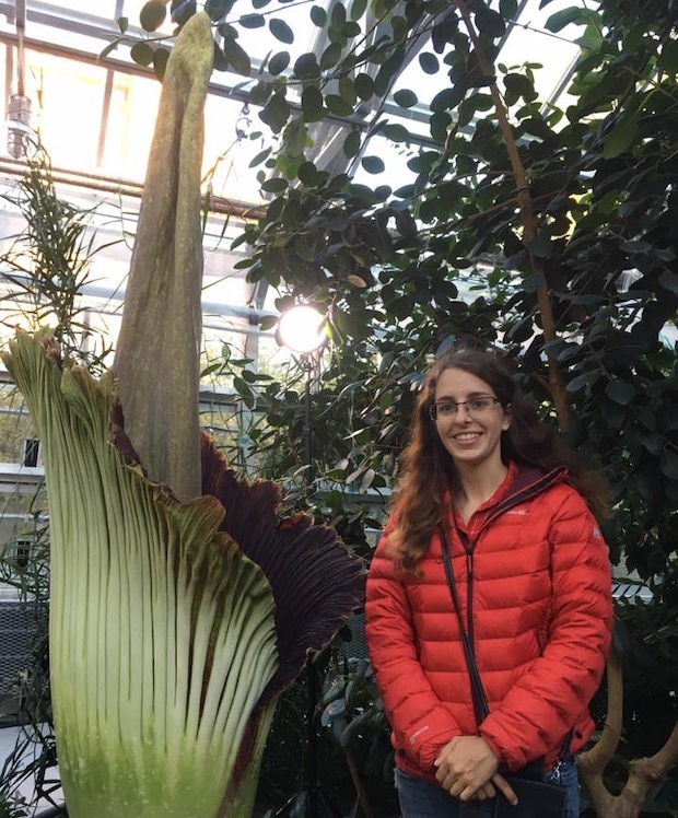 Zoe with a corpse flower